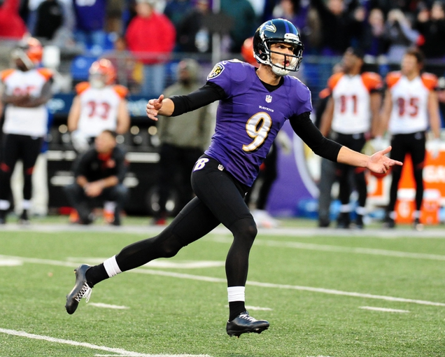 Nov 10, 2013; Baltimore, MD, USA; Baltimore Ravens kicker Justin Tucker (9) reacts after kicking the game winning field goal to beat the Cincinnati Bengals 20-17 at M&T Bank Stadium. Mandatory Credit: Evan Habeeb-USA TODAY Sports