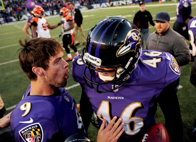 Nov 10, 2013; Baltimore, MD, USA; Baltimore Ravens kicker Justin Tucker (9) celebrates with long snapper Morgan Cox (46) after making the game winning field goal in overtime against the Cincinnati Bengals at M&T Bank Stadium. Mandatory Credit: Evan Habeeb-USA TODAY Sports