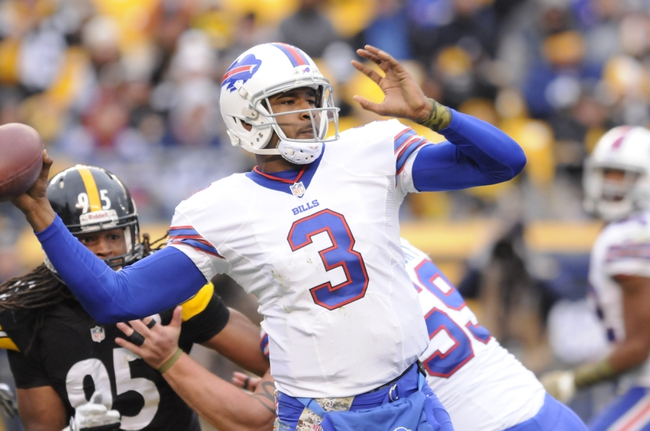 Nov 10, 2013; Pittsburgh, PA, USA; Buffalo Bills quarterback EJ Manuel (3) throws a pass during the fourth quarter of a game against the Pittsburgh Steelers at Heinz Field. Pittsburgh won the game 23-10. Mandatory Credit: Mark Konezny-USA TODAY Sports