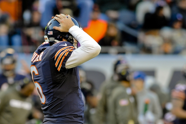 Nov 10, 2013; Chicago, IL, USA; Chicago Bears quarterback Jay Cutler (6) shows frustration against the Lions at Soldier Field. Mandatory Credit: Matt Marton-USA TODAY Sports