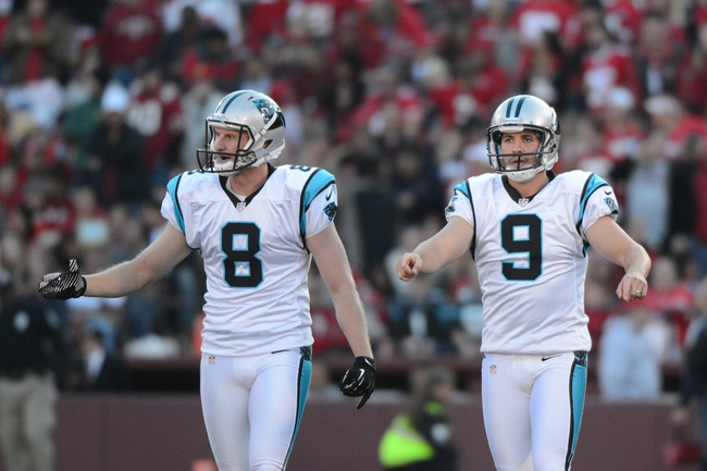November 10, 2013; San Francisco, CA, USA; Carolina Panthers punter Brad Nortman (8) and kicker Graham Gano (9) celebrate after Gano kicked the game-winning field goal during the fourth quarter against the San Francisco 49ers at Candlestick Park. The Panthers defeated the 49ers 10-9. Mandatory Credit: Kyle Terada-USA TODAY Sports