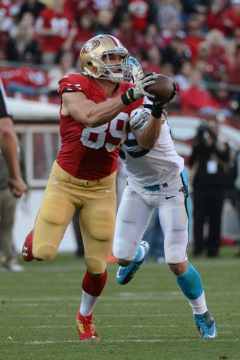 November 10, 2013; San Francisco, CA, USA; San Francisco 49ers tight end Vance McDonald (89) drops an incomplete pass against the Carolina Panthers during the fourth quarter at Candlestick Park. The Panthers defeated the 49ers 10-9. Mandatory Credit: Kyle Terada-USA TODAY Sports
