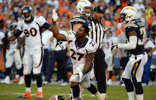 Nov 10, 2013; San Diego, CA, USA;  Denver Broncos running back Knowshon Moreno (27) signals a first down during the closing minute of the Broncos win over the San Diego Chargers at Qualcomm Stadium. Mandatory Credit: Robert Hanashiro-USA TODAY Sports