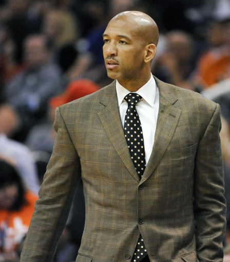 Nov 10, 2013; Phoenix, AZ, USA; New Orleans Pelicans head coach Monty Williams instructs his players during the third quarter against the Phoenix Suns at US Airways Center. The Suns beat the Pelicans 101-94. Mandatory Credit: Casey Sapio-USA TODAY Sports
