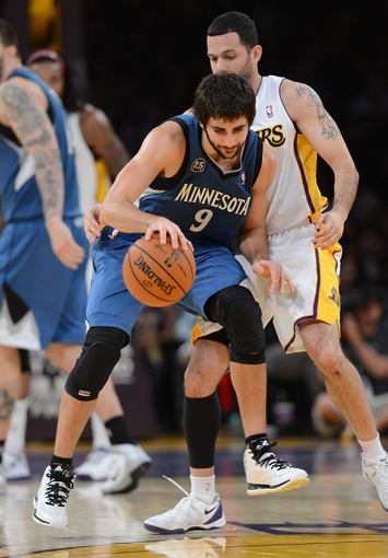Nov 10, 2013; Los Angeles, CA, USA;  Los Angeles Lakers point guard Jordan Farmar (1) guards Minnesota Timberwolves point guard Ricky Rubio (9) in the second half of the game at Staples Center. Timberwolves won 113-90. Mandatory Credit: Jayne Kamin-Oncea-USA TODAY Sports
