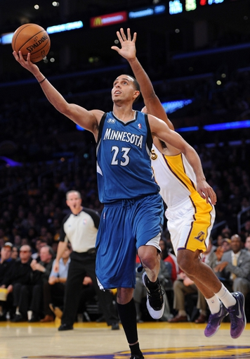 Nov 10, 2013; Los Angeles, CA, USA;   Minnesota Timberwolves shooting guard Kevin Martin (23) drives to the basket in the first half of the game against the Los Angeles Lakers at Staples Center. Mandatory Credit: Jayne Kamin-Oncea-USA TODAY Sports