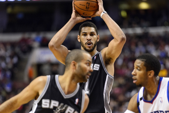Nov 11, 2013; Philadelphia, PA, USA; San Antonio Spurs forward Jeff Ayres (11) looks to pass during the fourth quarter against the Philadelphia 76ers at Wells Fargo Center. The Spurs defeated the Sixers 109-85. Mandatory Credit: Howard Smith-USA TODAY Sports