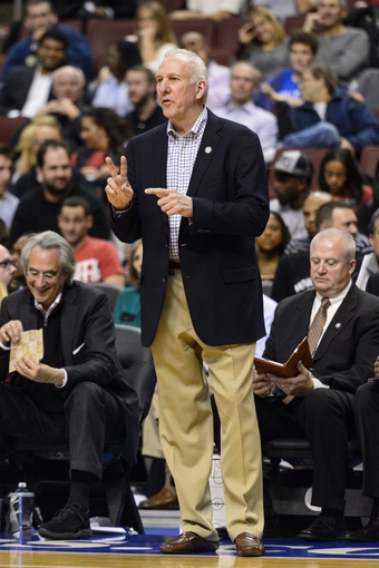 Nov 11, 2013; Philadelphia, PA, USA; San Antonio Spurs head coach Gregg Popovich during the fourth quarter against the Philadelphia 76ers at Wells Fargo Center. The Spurs defeated the Sixers 109-85. Mandatory Credit: Howard Smith-USA TODAY Sports