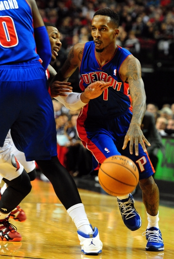 Nov 11, 2013; Portland, OR, USA; Detroit Pistons point guard Brandon Jennings (7) dribbles the ball against the Portland Trail Blazers in the first quarter at Moda Center. Mandatory Credit: Steve Dykes - USA TODAY Sports