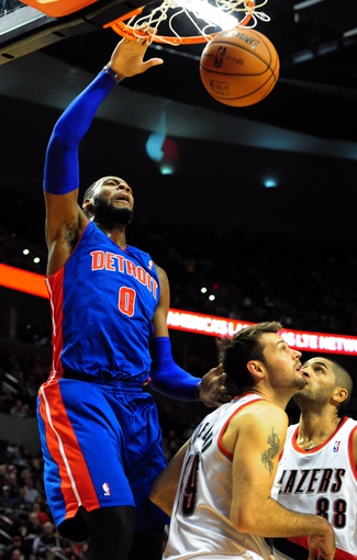 Nov 11, 2013; Portland, OR, USA; Detroit Pistons center Andre Drummond (0) shoots the ball against the Portland Trail Blazers in the first quarter of the game at Moda Center. Mandatory Credit: Steve Dykes - USA TODAY Sports