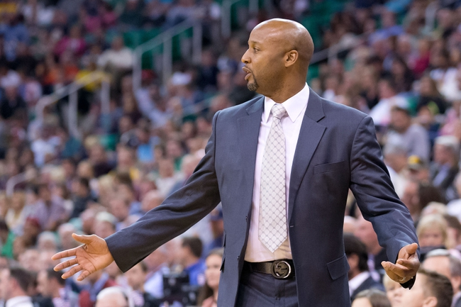 Nov 11, 2013; Salt Lake City, UT, USA; Denver Nuggets head coach Brian Shaw reacts from the sidelines during the second half against the Utah Jazz at EnergySolutions Arena. Denver won 100-81. Mandatory Credit: Russ Isabella-USA TODAY Sports