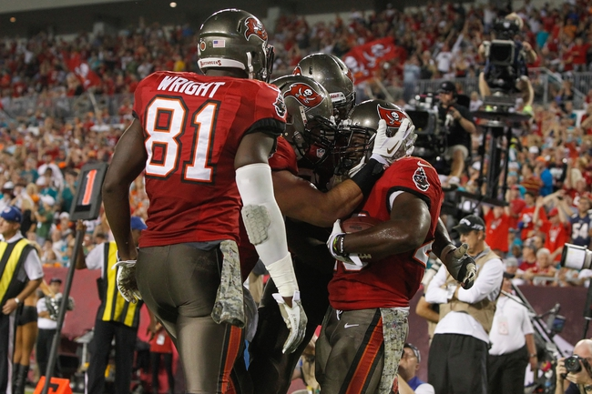 Nov 11, 2013; Tampa, FL, USA; Tampa Bay Buccaneers running back Bobby Rainey (43) is congratulated by teammates after he scored a touchdown against the Miami Dolphins during the second half at Raymond James Stadium. Mandatory Credit: Kim Klement-USA TODAY Sports