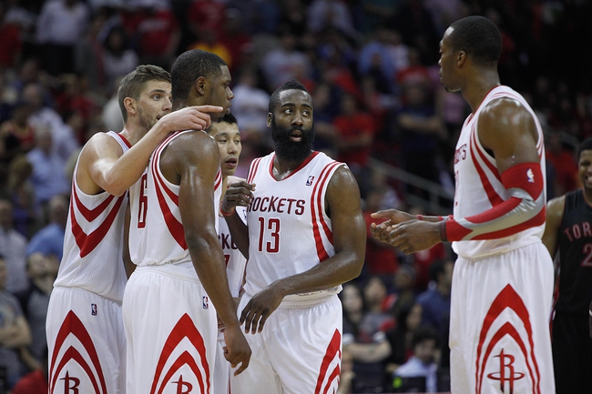 Nov 11, 2013; Houston, TX, USA; the Houston Rockets talk during the first overtime period at Toyota Center. Mandatory Credit: Andrew Richardson-USA TODAY Sports