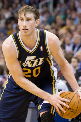 Nov 11, 2013; Salt Lake City, UT, USA; Utah Jazz shooting guard Gordon Hayward (20) controls the ball during the second half against the Denver Nuggets at EnergySolutions Arena. Denver won 100-81. Mandatory Credit: Russ Isabella-USA TODAY Sports