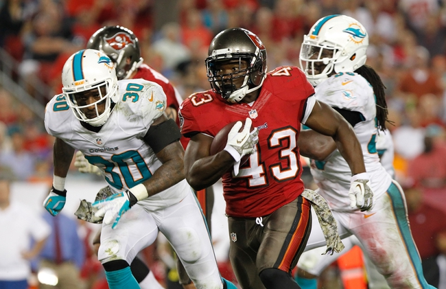 Nov 11, 2013; Tampa, FL, USA; Tampa Bay Buccaneers running back Bobby Rainey (43) runs with the ball against the Miami Dolphins during the second half at Raymond James Stadium. Tampa Bay Buccaneers defeated the Miami Dolphins 22-19. Mandatory Credit: Kim Klement-USA TODAY Sports