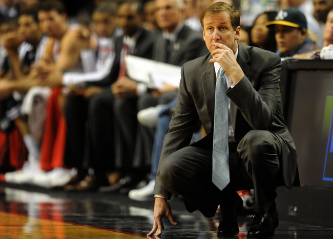 Nov 11, 2013; Portland, OR, USA; Portland Trail Blazers head coach Terry Stotts looks on from the sidelines during the third quarter of the game against the Detroit Pistons at Moda Center. Mandatory Credit: Steve Dykes - USA TODAY Sports