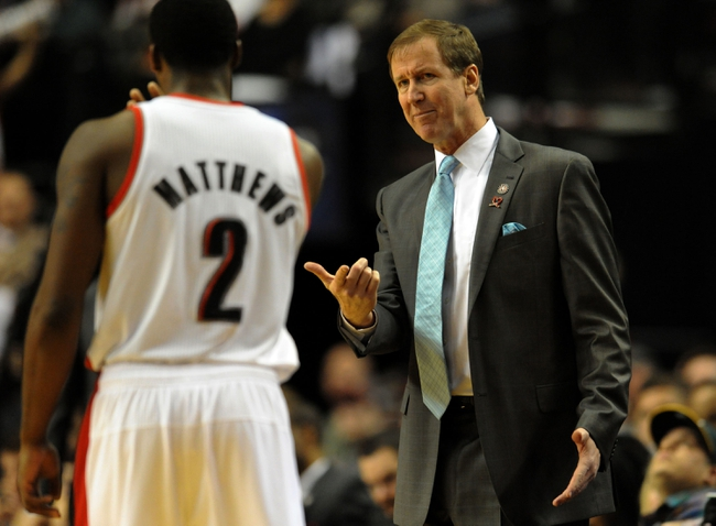 Nov 11, 2013; Portland, OR, USA; Portland Trail Blazers head coach Terry Stotts has some words with Portland Trail Blazers shooting guard Wesley Matthews (2) during the fourth quarter of the game against the Detroit Pistons at Moda Center. The Blazers won the game 109-103. Mandatory Credit: Steve Dykes - USA TODAY Sports