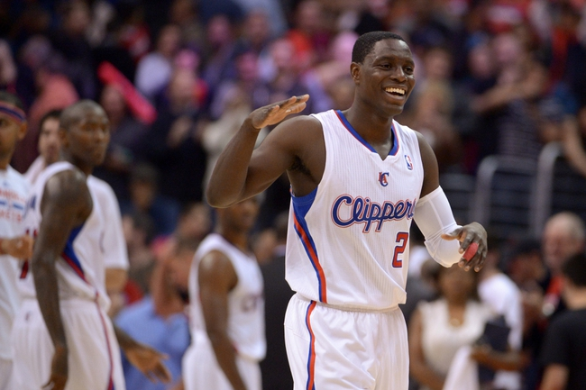 Nov 11, 2013; Los Angeles, CA, USA; Los Angeles Clippers guard Darren Collison (2) celebrates at the end of the game against the Minnesota Timberwolves at Staples Center. The Clippers defeated the Timberwolves 109-107. Mandatory Credit: Kirby Lee-USA TODAY Sports