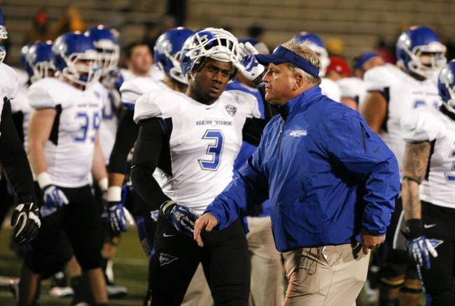 Nov 12, 2013; Toledo, OH, USA; Buffalo Bulls head coach Jeff Quinn walks off the field after the game against the Toledo Rockets at Glass Bowl. The Rockets beat the Bulls 51-41. Mandatory Credit: Raj Mehta-USA TODAY Sports