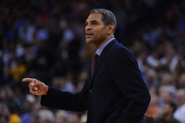 November 12, 2013; Oakland, CA, USA; Detroit Pistons head coach Maurice Cheeks instructs against the Golden State Warriors during the third quarter at Oracle Arena. The Warriors defeated the Pistons 113-95. Mandatory Credit: Kyle Terada-USA TODAY Sports