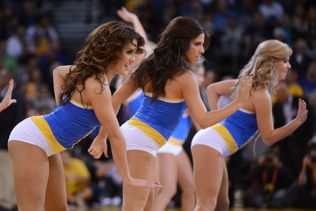 November 12, 2013; Oakland, CA, USA; Golden State Warriors dancers perform during the first quarter against the Detroit Pistons at Oracle Arena. The Warriors defeated the Pistons 113-95. Mandatory Credit: Kyle Terada-USA TODAY Sports