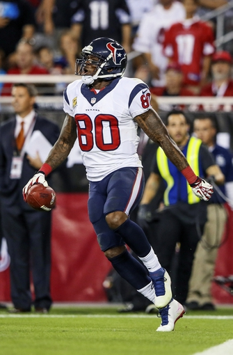 Nov 10, 2013; Phoenix, AZ, USA; Houston Texans wide receiver Andre Johnson (80) reacts after scoring a touchdown during the game against the Arizona Cardinals at University of Phoenix Stadium. Arizona won 27-24. Mandatory Credit: Kevin Jairaj-USA TODAY Sports