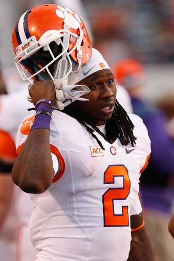 Nov 2, 2013; Charlottesville, VA, USA; Clemson Tigers wide receiver Sammy Watkins (2) stands on the sidelines against the Virginia Cavaliers at Scott Stadium. Mandatory Credit: Geoff Burke-USA TODAY Sports