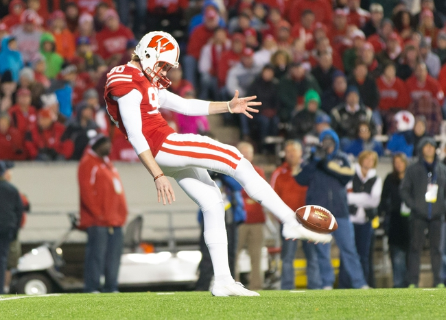 Nov 9, 2013; Madison, WI, USA; Wisconsin Badgers punter Drew Meyer (90) during the game against the Brigham Young Cougars at Camp Randall Stadium. Wisconsin won 27-17.  Mandatory Credit: Jeff Hanisch-USA TODAY Sports