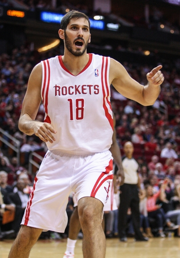Nov 9, 2013; Houston, TX, USA; Houston Rockets small forward Omri Casspi (18) reacts after a play during the third quarter against the Los Angeles Clippers at Toyota Center. Mandatory Credit: Troy Taormina-USA TODAY Sports