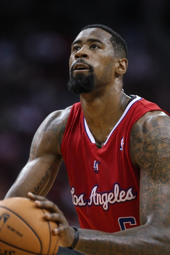 Nov 9, 2013; Houston, TX, USA; Los Angeles Clippers center DeAndre Jordan (6) attempts a free throw during the third quarter against the Houston Rockets at Toyota Center. Mandatory Credit: Troy Taormina-USA TODAY Sports