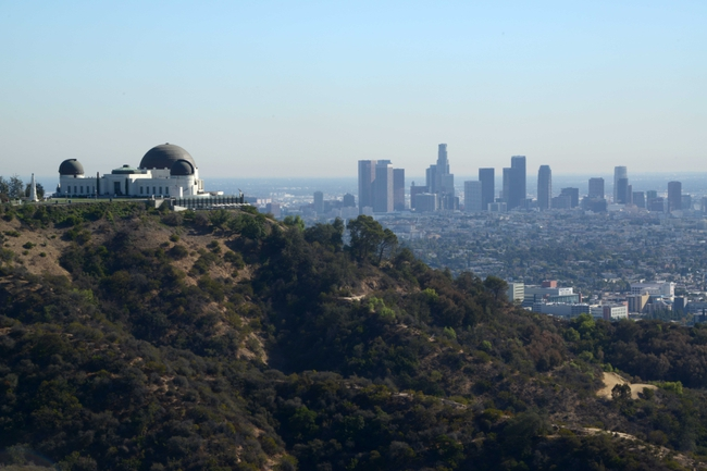 Nov 13, 2013; Los Angeles, CA, USA; General view of the Griffith Park observatory and the downtown Los Angeles skyline before the NBA game between the Oklahoma City Thunder and the Los Angeles Clippers. Mandatory Credit: Kirby Lee-USA TODAY Sports