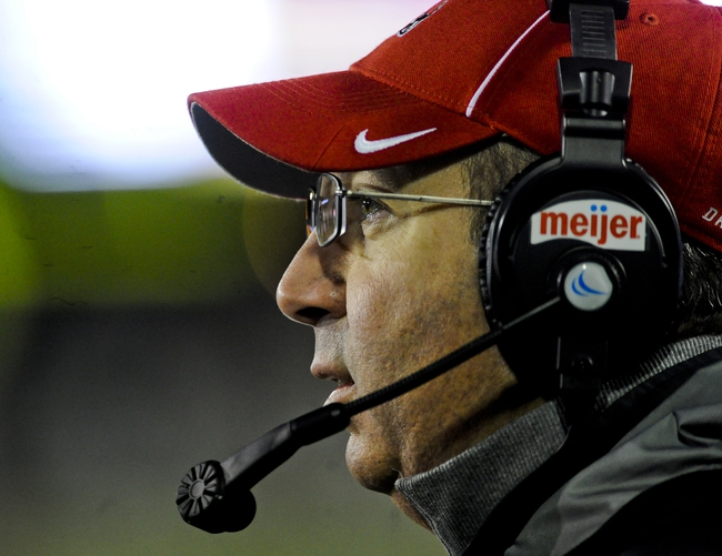 Nov 13, 2013; DeKalb, IL, USA; Ball State Huskies head coach Pete Lembo looks on against Northern Illinois Cardinals during the 1st quarter at Huskie Stadium. Mandatory Credit: Matt Marton-USA TODAY Sports