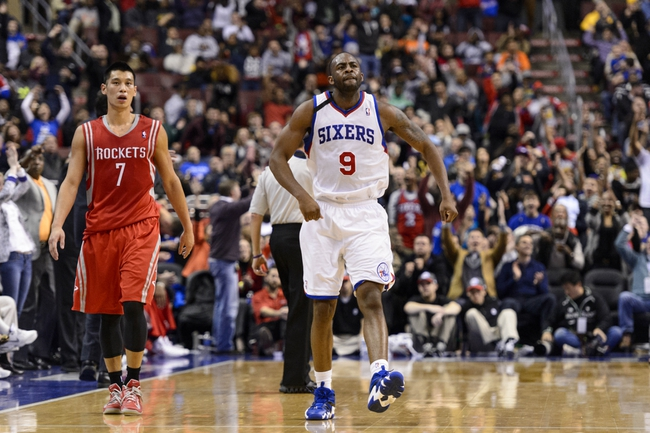 Nov 13, 2013; Philadelphia, PA, USA; Philadelphia 76ers guard James Anderson (9) celebrates making a shot during the fourth quarter against the Houston Rockets at Wells Fargo Center. The Sixers defeated the Rockets 123-117. Mandatory Credit: Howard Smith-USA TODAY Sports