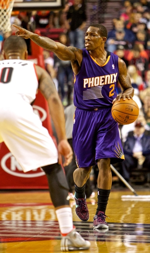 Nov 13, 2013; Portland, OR, USA; Phoenix Suns point guard Eric Bledsoe (2) calls a play against the Portland Trail Blazers at the Moda Center. Mandatory Credit: Craig Mitchelldyer-USA TODAY Sports