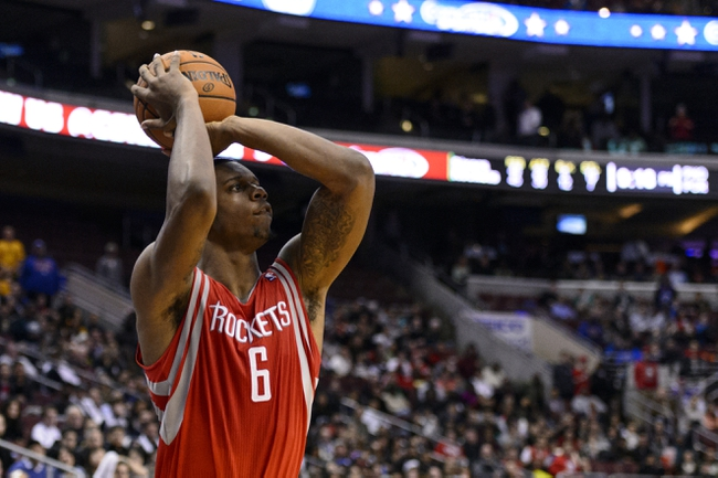 Nov 13, 2013; Philadelphia, PA, USA; Houston Rockets forward Terrence Jones (6) shoots a jump shot during the fourth quarter against the Philadelphia 76ers at Wells Fargo Center. The Sixers defeated the Rockets 123-117. Mandatory Credit: Howard Smith-USA TODAY Sports