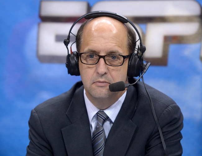 Nov 13, 2013; Los Angeles, CA, USA; ESPN broadcaster Jeff Van Gundy during the NBA game between the Oklahoma City Thunder and Los Angeles Clippers Center. Mandatory Credit: Kirby Lee-USA TODAY Sports