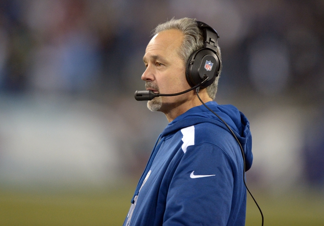 Nov 14, 2013; Nashville, TN, USA; Indianapolis Colts coach Chuck Pagano during the game against the Tennessee Titans at LP Field. The Colts defeated the Titans 30-27. Mandatory Credit: Kirby Lee-USA TODAY Sports