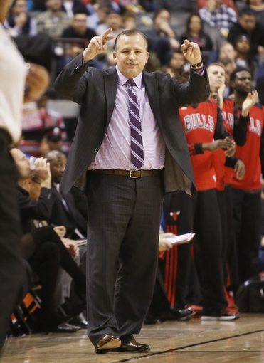 Nov 15, 2013; Toronto, Ontario, CAN; Chicago Bulls head coach Tom Thibodeau during the first half against the Toronto Raptors at the Air Canada Centre. Chicago defeated Toronto 96-80. Mandatory Credit: John E. Sokolowski-USA TODAY Sports