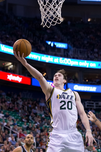 Nov 15, 2013; Salt Lake City, UT, USA; Utah Jazz shooting guard Gordon Hayward (20) shoots during the first half against the San Antonio Spurs at EnergySolutions Arena. Mandatory Credit: Russ Isabella-USA TODAY Sports