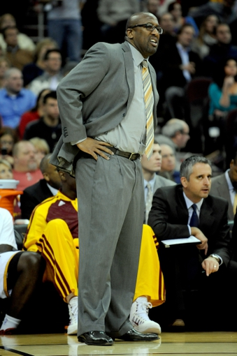 Nov 15, 2013; Cleveland, OH, USA; Cleveland Cavaliers head coach Mike Brown watches the game against the Charlotte Bobcats during the third quarter at Quicken Loans Arena. The Bobcats beat the Cavaliers 86-80. Mandatory Credit: Ken Blaze-USA TODAY Sports