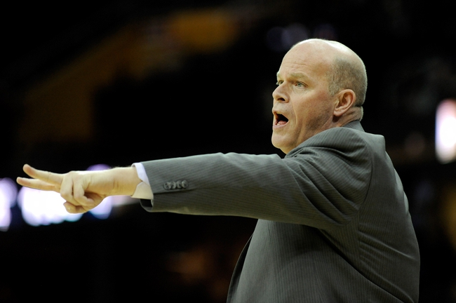 Nov 15, 2013; Cleveland, OH, USA; Charlotte Bobcats head coach Steve Clifford calls a play Cleveland Cavaliers during the fourth quarter at Quicken Loans Arena. The Bobcats beat the Cavaliers 86-80. Mandatory Credit: Ken Blaze-USA TODAY Sports