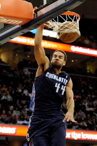 Nov 15, 2013; Cleveland, OH, USA; Charlotte Bobcats shooting guard Jeff Taylor (44) dunks during the third quarter against the Cleveland Cavaliers at Quicken Loans Arena. The Bobcats beat the Cavaliers 86-80. Mandatory Credit: Ken Blaze-USA TODAY Sports
