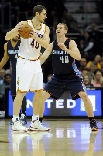 Nov 15, 2013; Cleveland, OH, USA; Charlotte Bobcats center Cody Zeller (40) guards Cleveland Cavaliers center Tyler Zeller (40) during the third quarter at Quicken Loans Arena. The Bobcats beat the Cavaliers 86-80. Mandatory Credit: Ken Blaze-USA TODAY Sports