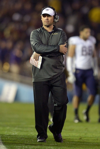Nov 15, 2013; Pasadena, CA, USA; Washington Huskies coach Steve Sarkisian during the game against the UCLA Bruins at Rose Bowl. Mandatory Credit: Kirby Lee-USA TODAY Sports