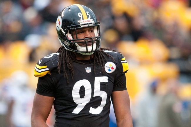 Nov 10, 2013; Pittsburgh, PA, USA; Pittsburgh Steelers outside linebacker Jarvis Jones (95) on the field during the fourth quarter of a game against the Buffalo Bills at Heinz Field. Pittsburgh won the game 23-10. Mandatory Credit: Mark Konezny-USA TODAY Sports