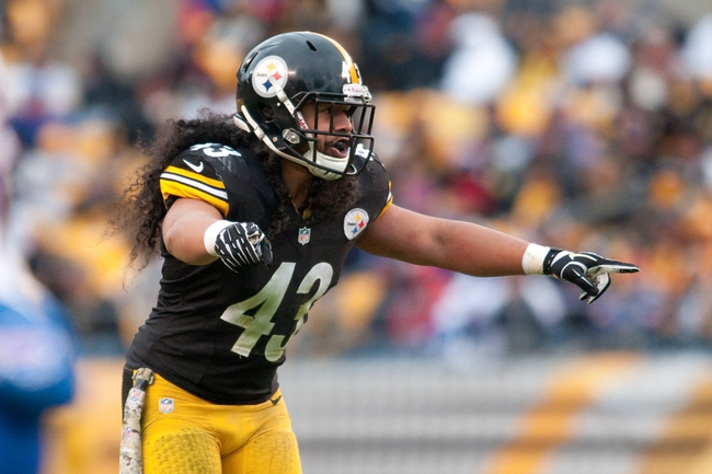 Nov 10, 2013; Pittsburgh, PA, USA; Pittsburgh Steelers strong safety Troy Polamalu (43) calls out a pass coverage scheme during the third quarter of a game against the Buffalo Bills at Heinz Field. Mandatory Credit: Mark Konezny-USA TODAY Sports