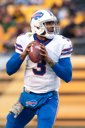 Nov 10, 2013; Pittsburgh, PA, USA; Buffalo Bills quarterback EJ Manuel (3) drops back to pass during the fourth quarter of a game against the Pittsburgh Steelers at Heinz Field. Pittsburgh won the game 23-10. Mandatory Credit: Mark Konezny-USA TODAY Sports