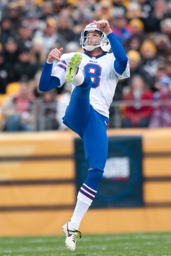 Nov 10, 2013; Pittsburgh, PA, USA; Buffalo Bills punter Brian Moorman (8) in action during the first quarter of a game against the Pittsburgh Steelers at Heinz Field. Mandatory Credit: Mark Konezny-USA TODAY Sports