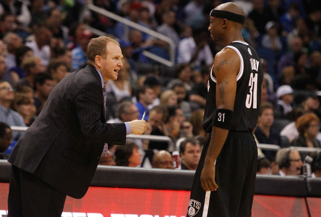 Nov 3, 2013; Orlando, FL, USA; Brooklyn Nets assistant coach Lawrence Frank talks with shooting guard Jason Terry (31) against the Orlando Magic during the second half at Amway Center. Mandatory Credit: Kim Klement-USA TODAY Sports