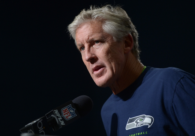 Oct 13, 2013; Seattle, WA, USA; Seattle Seahawks coach Pete Carroll at press conference after the game against the Tennessee Titans at CenturyLink Field. The Seahawks defeated the Titans 20-13. Mandatory Credit: Kirby Lee-USA TODAY Sports